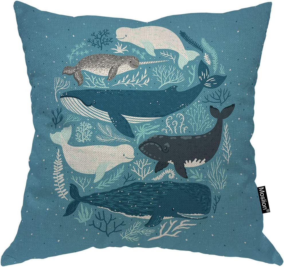 Moslion Fish Pillows Nature Nautical Ocean Sea Seaweed Coral Whale Shark Dolphin Throw Pillow Cover Decorative Pillow Case Square Cushion Accent Cotton Linen Home 18x18 Inch Blue