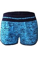 Aleumdr Womens Handwriting Printed Wide Waistband Swim Board Shorts