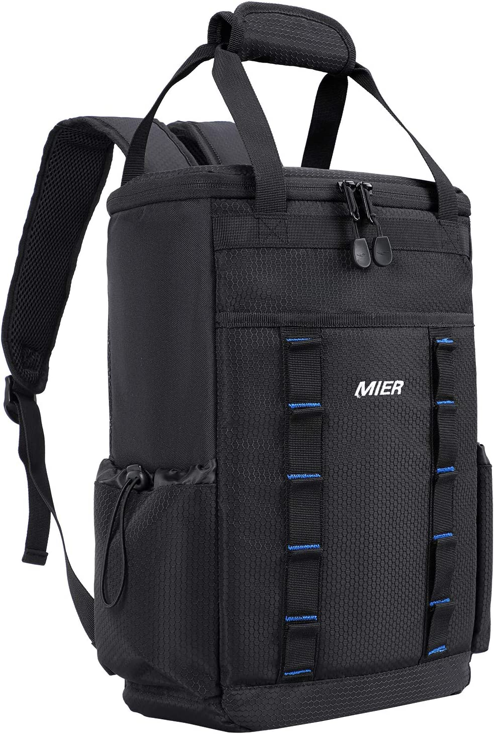 MIER Leakproof Insulated Backpack Soft Cooler Lunch Bag for Men and Women to Picnic, Work, Travel, Beach, Sports, Camping, Hiking, 20 Can, Black