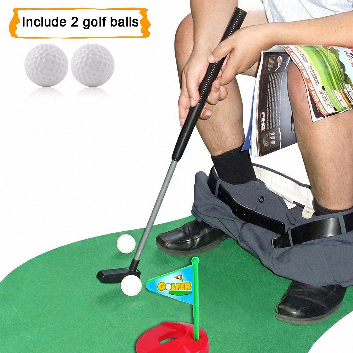 HighSound Toilet Golf, Potty Putter Set Bathroom Game Mini Golf Set Golf Putting Novelty Set, Play Golf on the Toilet