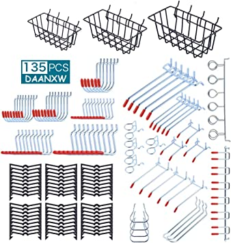 1//4 inch 1//8 inch Pegboard Hooks Assortment Justech 155pcs Pegboard Accessories Organizer Kit All Mental Peg Board Attachment /& Peg Board Basket Set for Tools