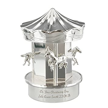 Personalised Engraved Carousel Money Box Newborn Baby Boys Girl Silver Christening Gifts