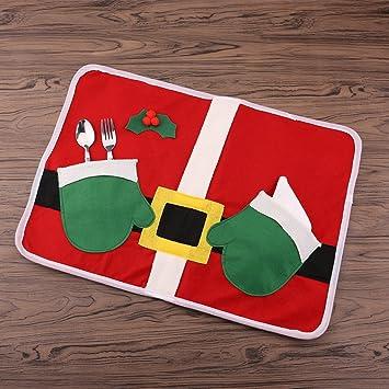Zogin - Lote de Placemat Navidad Set de Individuales Mate diseño con Disfraz de Papá Noel con Cubiertos de Toalla vajilla para decoración Mesa Navidad ...