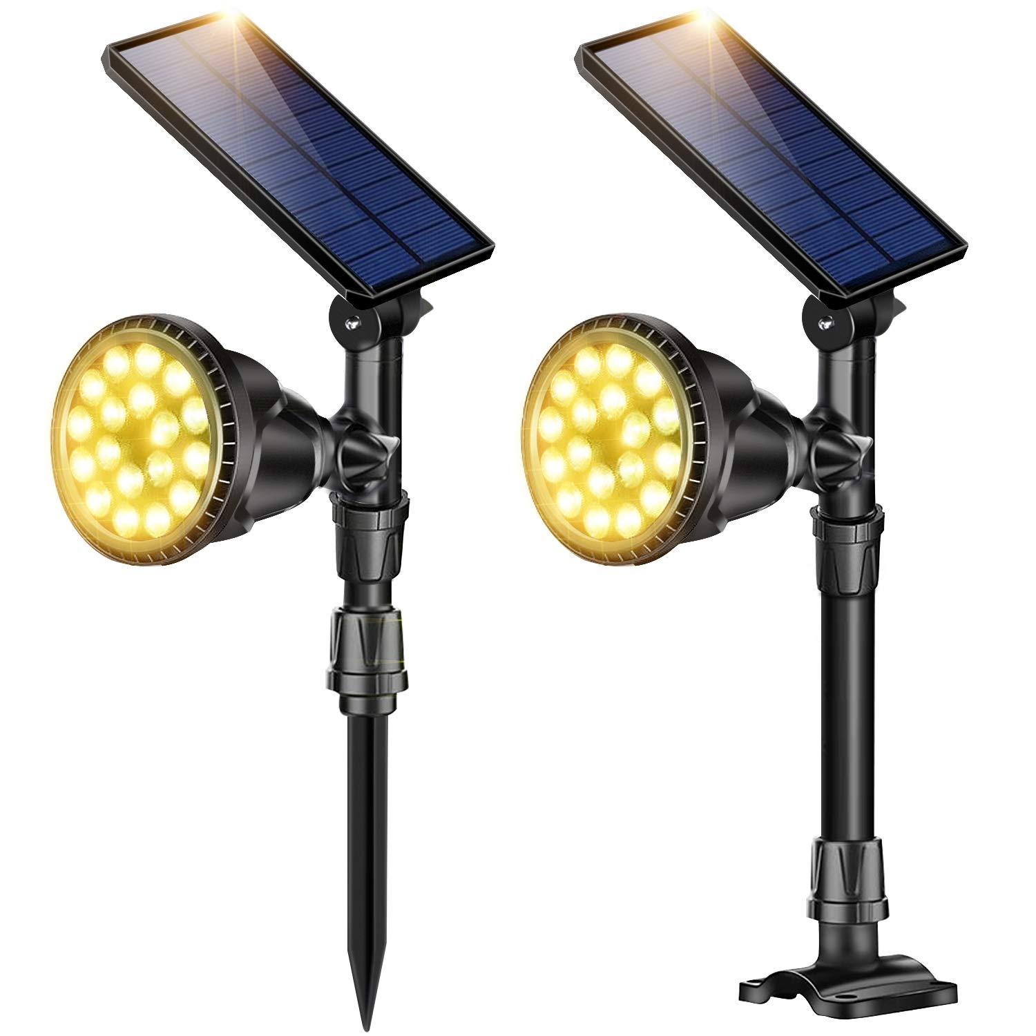 DS Lighting Outdoor Solar Spotlights, Super Bright 18 LED Security Light Waterproof Wall Lamps for Garden Landscape Patio Porch Deck Garage (Warm White, 2 Pack)