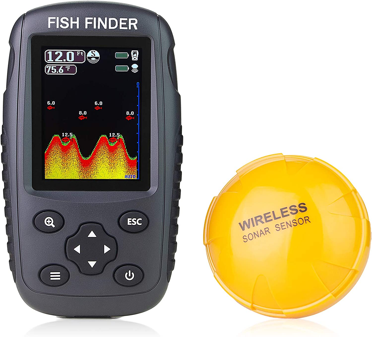 Venterior Portable Rechargeable Fish Finder Wireless Sonar Sensor Fishfinder Depth Locator with Fish Size