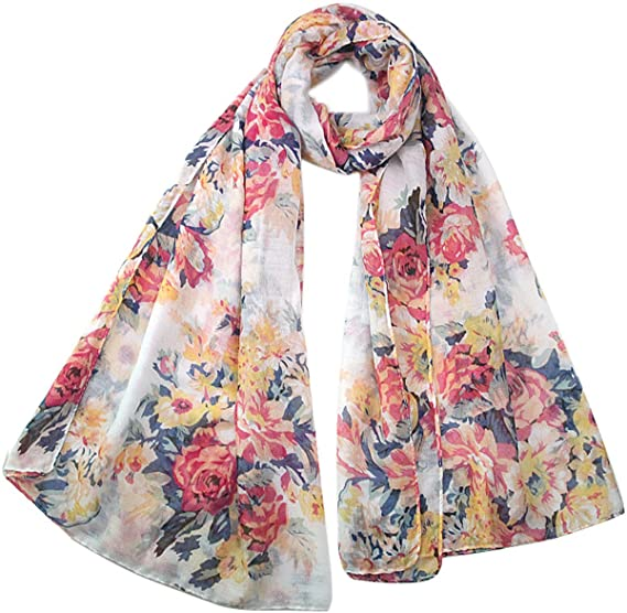 ede733f52 Womens Floral Soft Head Spring Summer Infinity Scarf Wrap Gift (Beige)