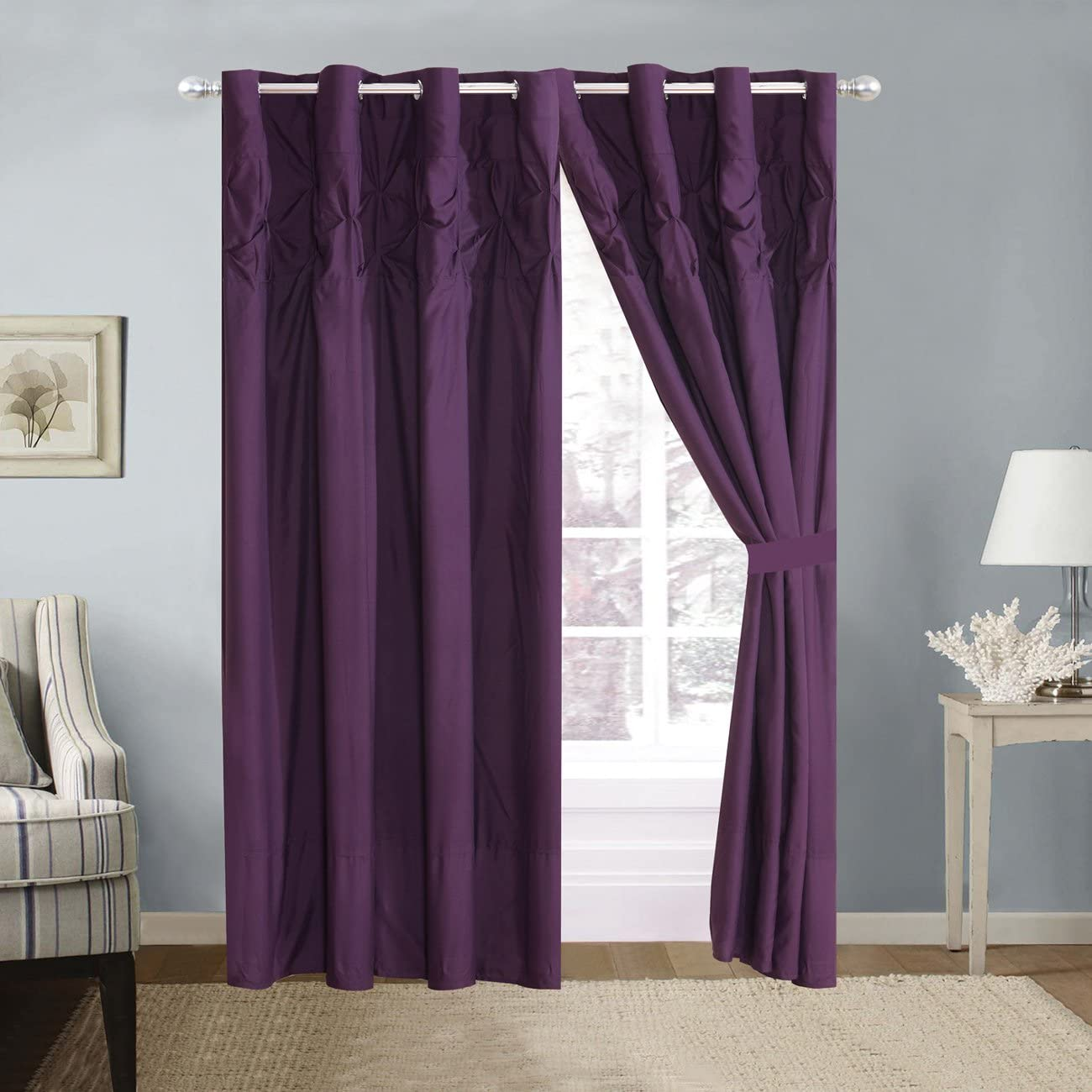 4 Piece Solid Dark Purple Double-Needle Stitch Pinch Pleat Grommet Window Curtain Set 108 x 84-inch, 2 Panels and 2 Ties