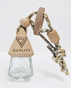 V-Quality Empty 8ml Refillable Car Aromatherapy Essential Oil Diffuser Car Air Freshener - Round and Diamond Shaped Clear Glass Bottle(Smart 2-In-1 Design) - 2 Pack