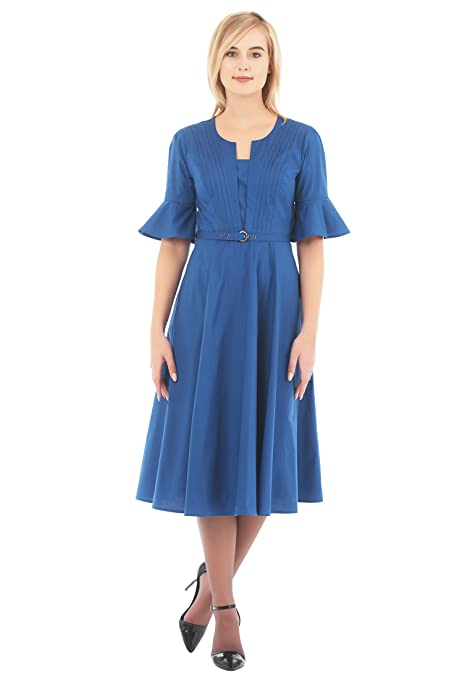 What Did Women Wear in the 1930s? eShakti Womens Split front belted stretch poplin dress $55.95 AT vintagedancer.com