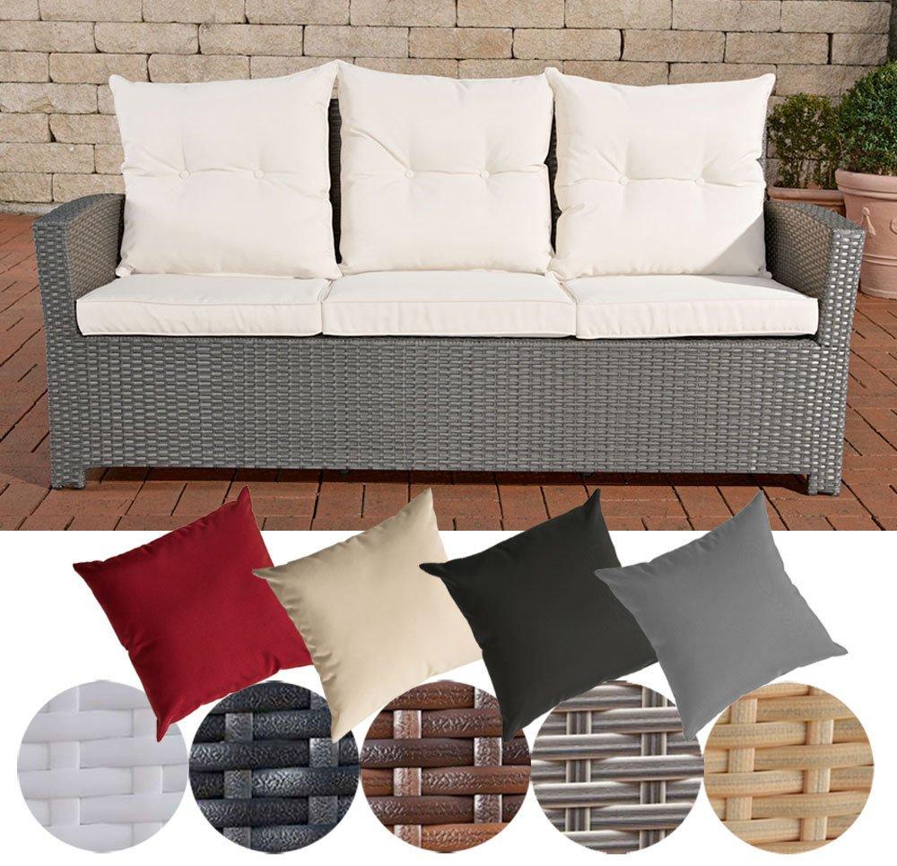 CLP Poly-Rattan 3er Sofa FISOLO, Aluminium Gestell - 100% rostfrei - inkl. Kissen & Auflagen Rattan Farbe grau, Bezugfarbe: Cremeweiß