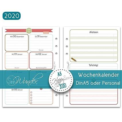 Wochenplan mit Spalten 1 Woche auf 2 Seiten 2020 - Din A5 SinnWunder/® 2020 Premium-Kalendereinlagen PureSinn