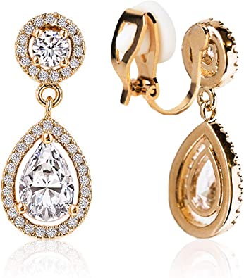 Clip on style Earrings gold black crystal Star 2.5 cm-evening-Party everyday M