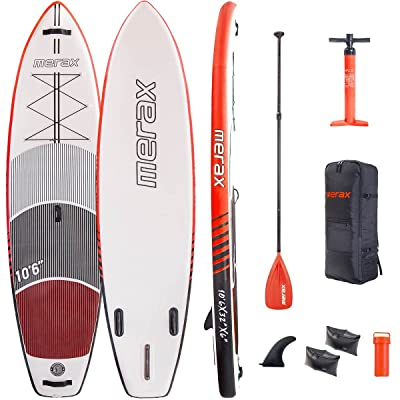"""Merax 10'6"""" Inflatable SUP Stand Up Paddle Board Wide Stance 6"""" Thick Double Layer ISUP"""