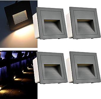 3W luces de escalera LED de con de luminaria empotrada en la pared ...