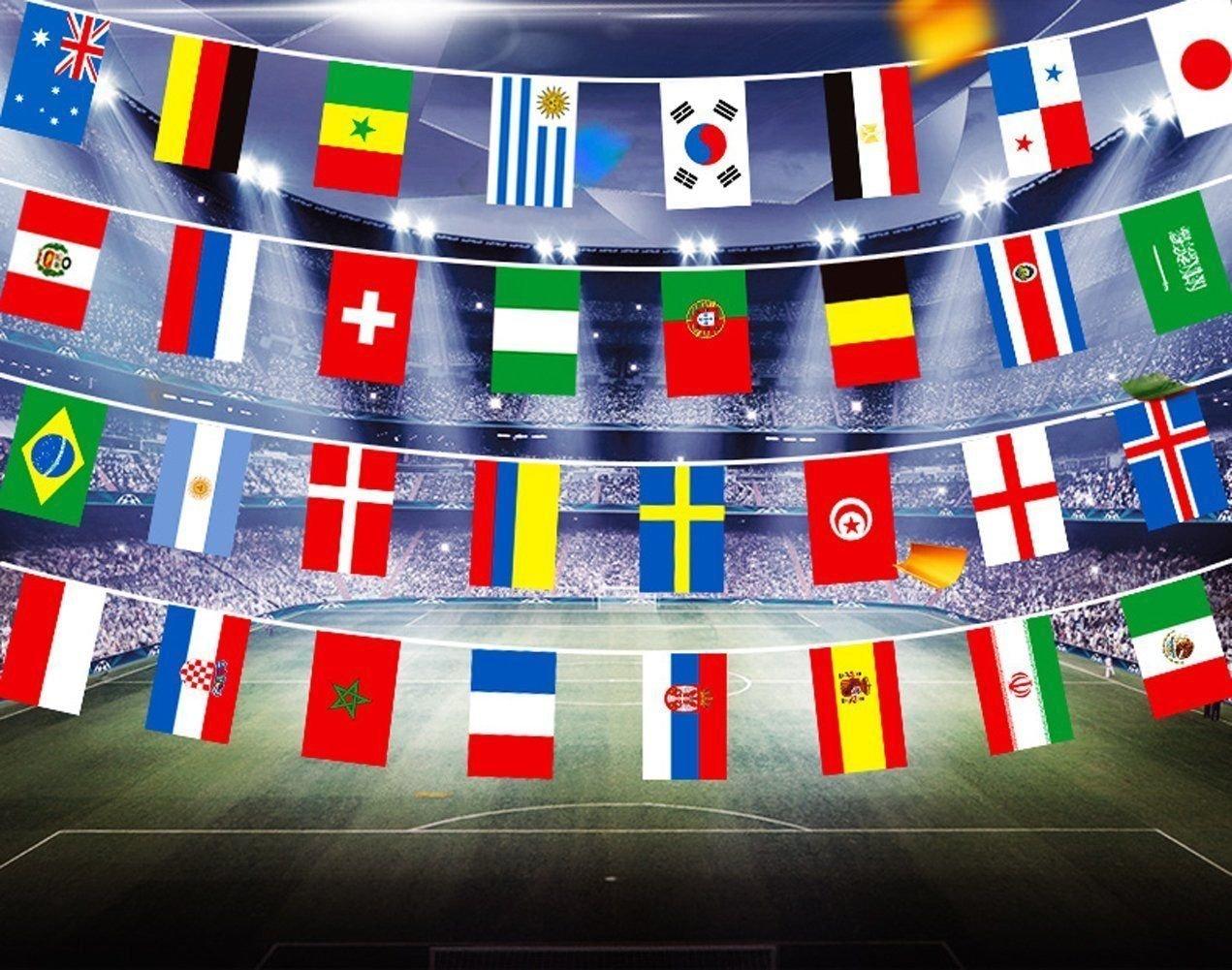 My Planet Banderines gigantes (32 banderines del mundo) de alta calidad con banderines grandes extra grandes de 12 metros para decoración de fiestas: ...