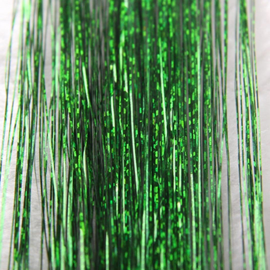 Fenleo Hair Tinsel Sparkle Holographic Glitter Extensions Highlights Party Wig (Green)