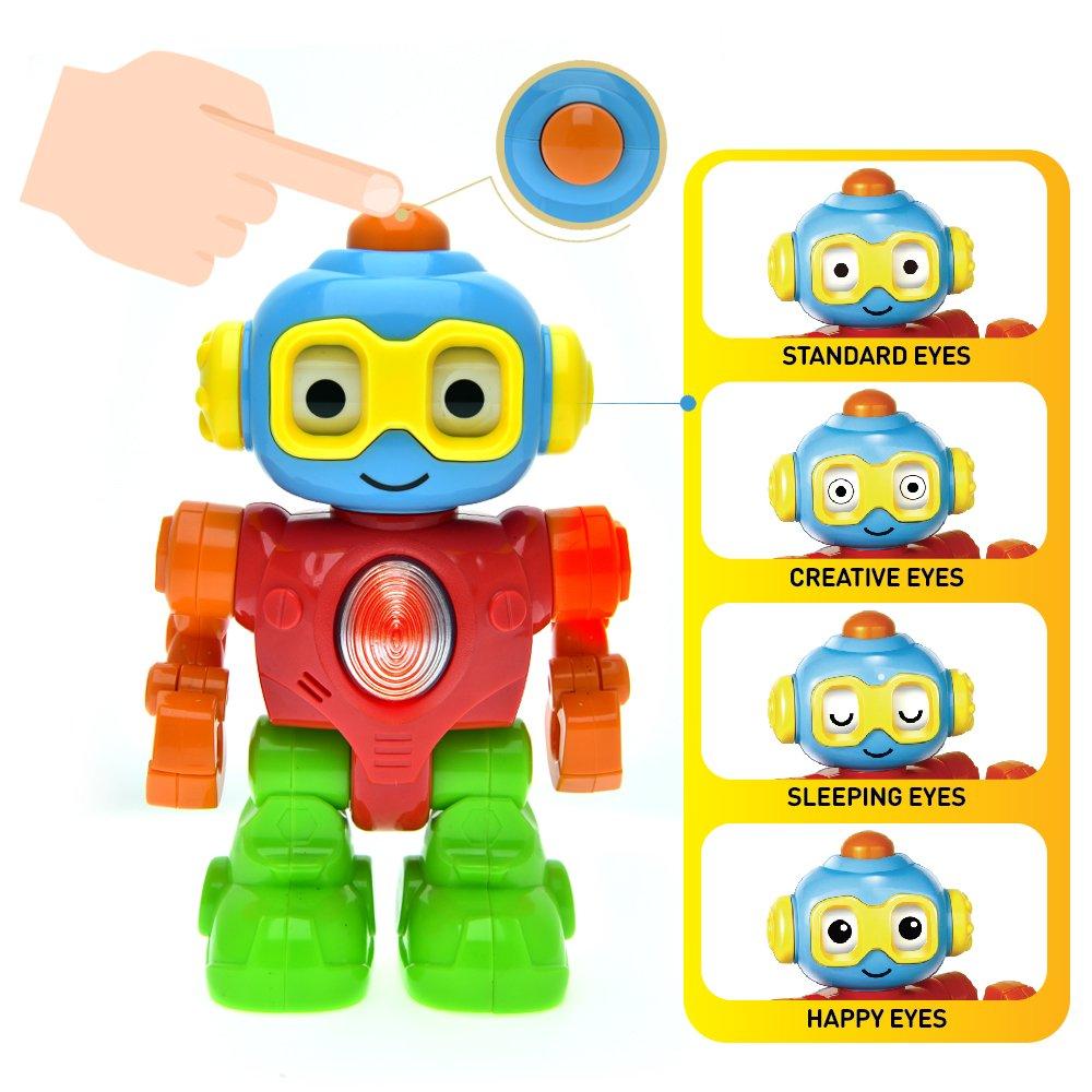 WEofferwhatYOUwant Robot Qui Change d'Humeur pour Les Tout-Petits. De la Taille d'Une Figurine d'Action avec des Yeux Qui Tournent et Qui Changent d'Expression. Allez-y, Faites-Le Tourner ! www Limited GY-Q043-K8XZ