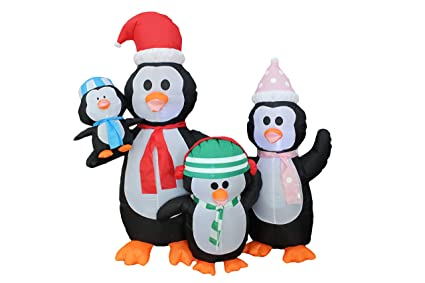 amazon com 5 foot christmas inflatable penguins family yard
