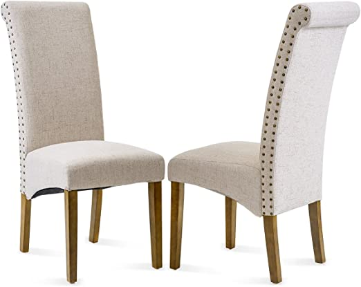 2//4X Linen Fabric Dining Chairs Roll Top Solid Oak Legs Home Office Restaurants