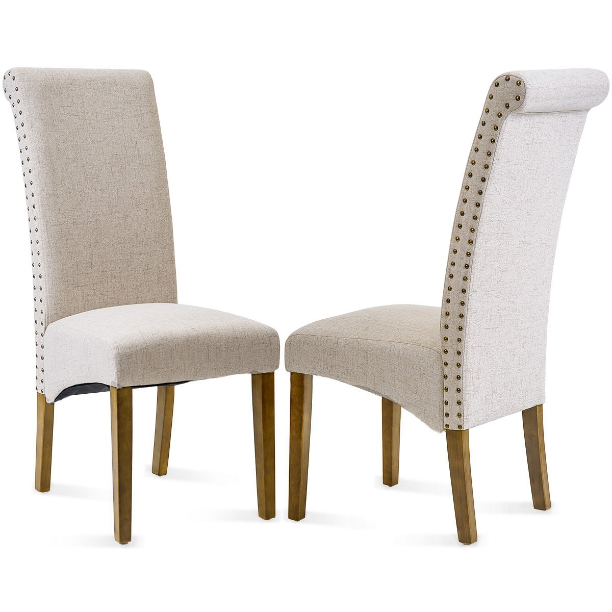 Merax Dining Chairs Set of 2 Fabric Padded Side Chair with Solid Wood Legs, Nailed Trim(Grey) PP036403