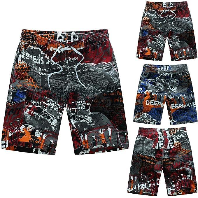 Amazon.com: Mens Quick Dry Swimtrunks Fashion Letter Print Beach Surfing Shorts Pants Zulmuliu: Sports & Outdoors