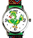 """""""Save Our Wildlife"""" Large Polished Chrome Watch with Green Nylon Strap has a """"Parrot"""" image and Donation to the African Wildlife Foundation"""