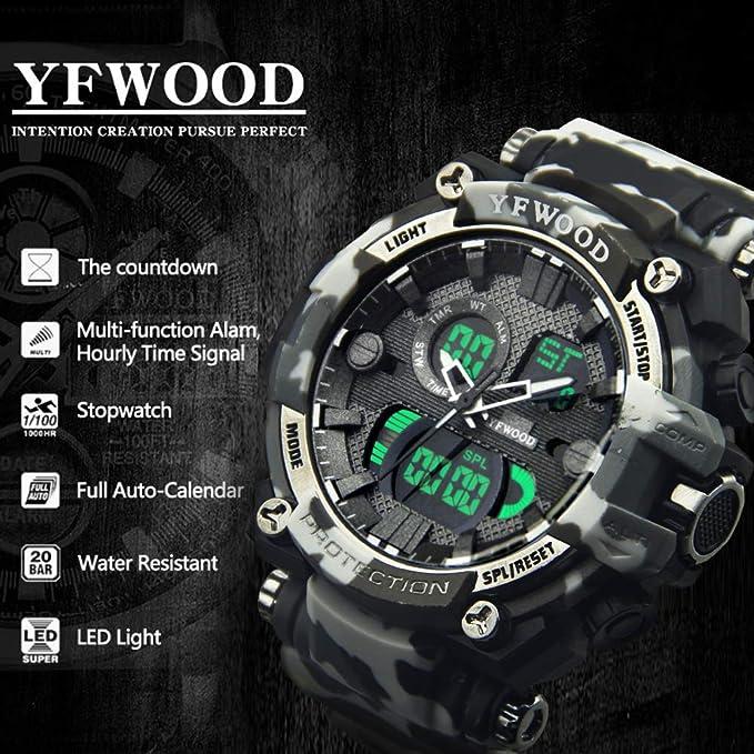 Reloj deportivo para hombre, resistente al agua, movimiento de cuarto, digital, multifuncional, luz de fondo, militar, con correa de TPU para niños y ...