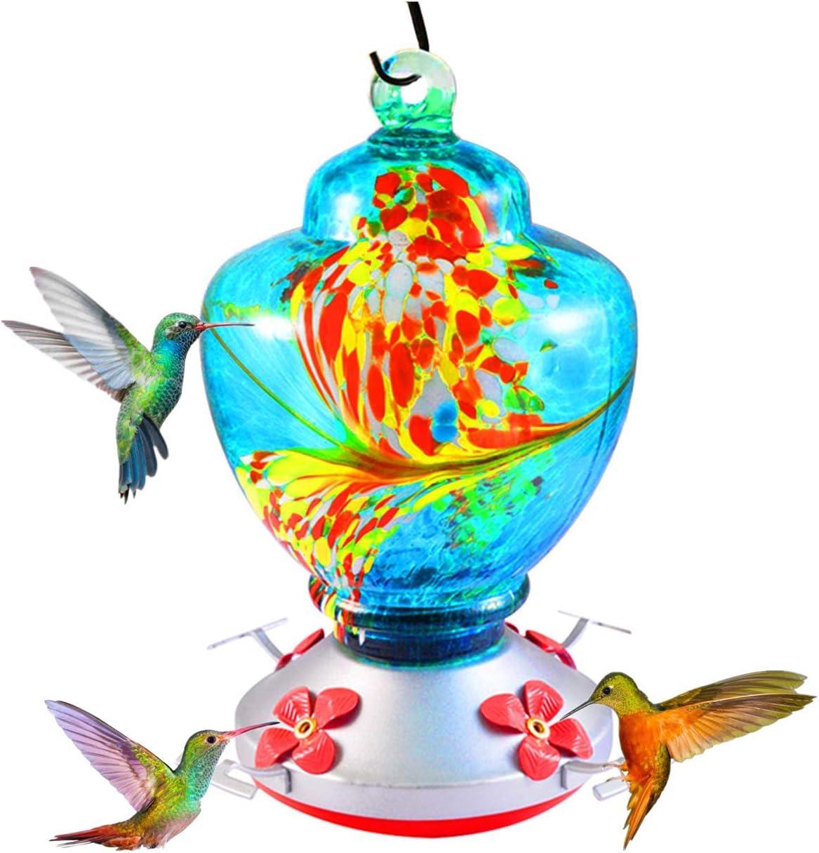 AIPET Hummingbird Feederfor Outdoor 38 Fluid OuncesBlown Glass Hummingbird Feeders Nectar CapacityInclude Ant Moat, Metal Hook, Hemp Rope, Brush-Blue