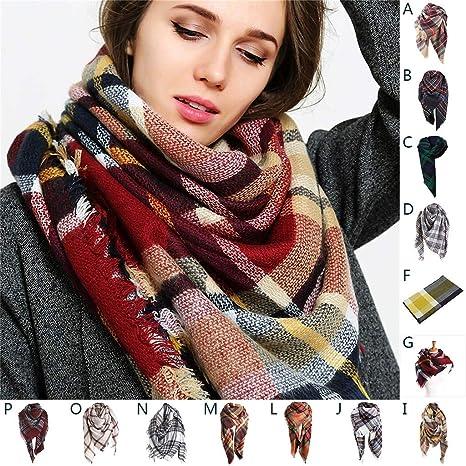 Warm nappe plaid cashmere sciarpa lana check Scialle Pashmina Wraps per le donne