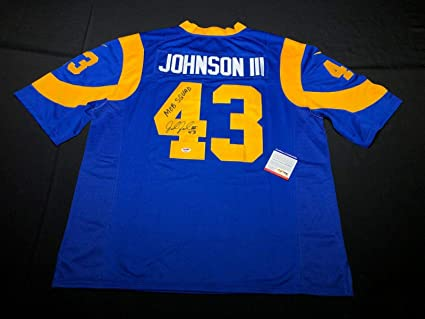 New John Johnson III Signed Los Angeles Rams Football JerseyMob Squad  free shipping