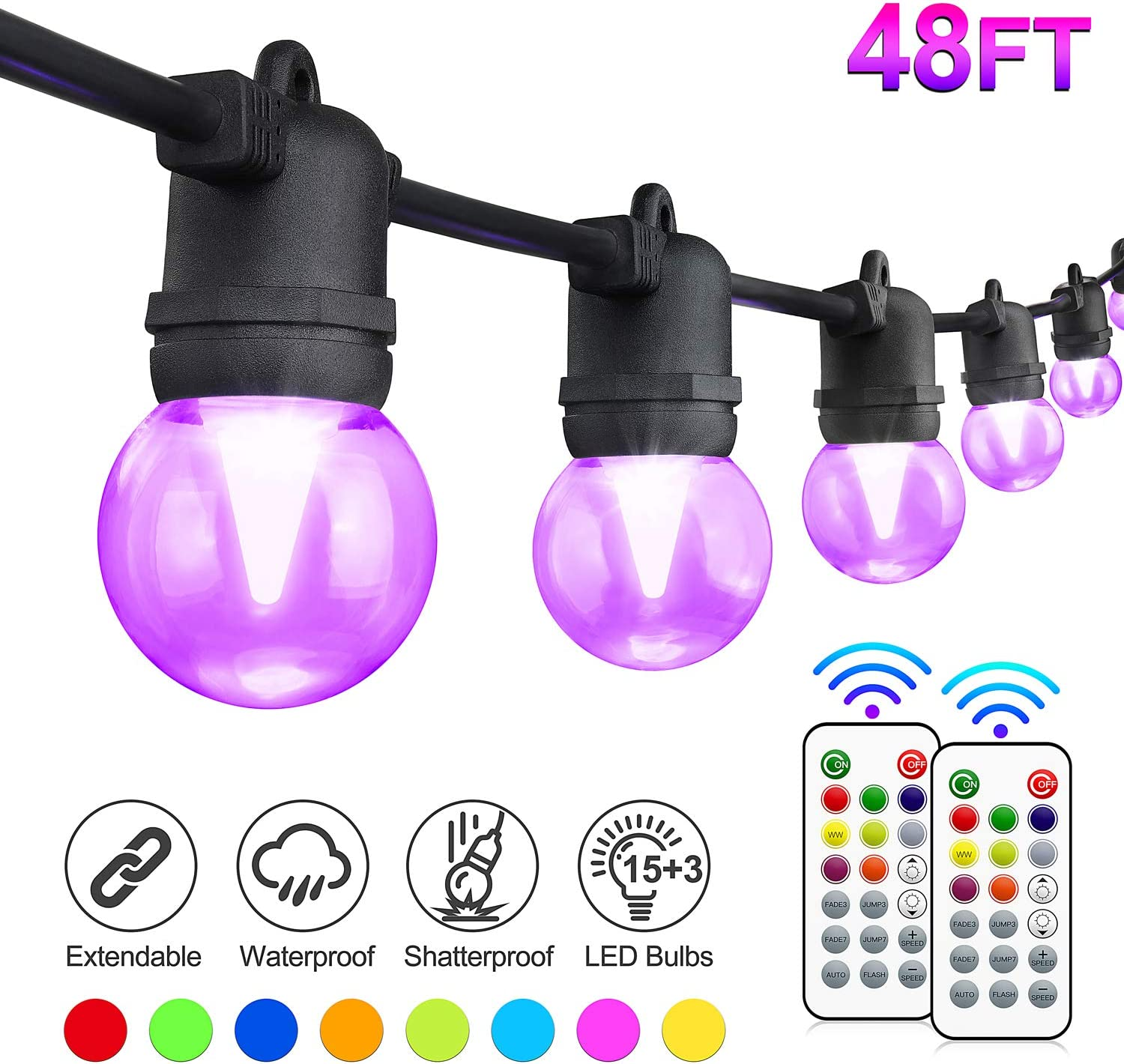 48FT Color Changing Outdoor String Light, RGB LED String Light, with 15+3 G45 Edison Bulbs Dimmable, 2 Remote Controls, Waterproof & Shatterproof for Patio, Cafe, Backyard and Garden
