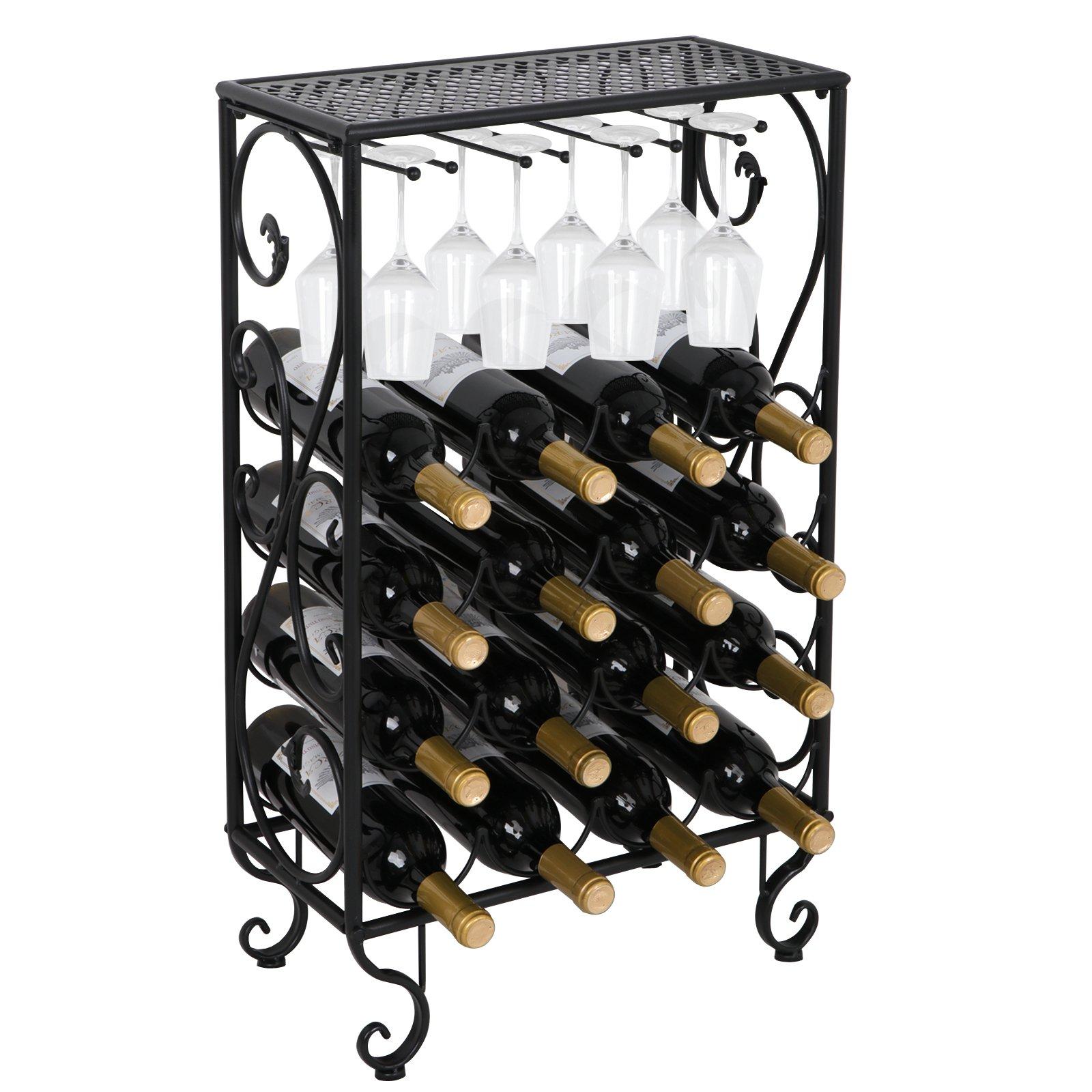 Smartxchoices 16 Wine Rack Table with Glass Holder Tabletop Wine Bottle Holder Storage Shelf Kitchen Shelf by Smartxchoices