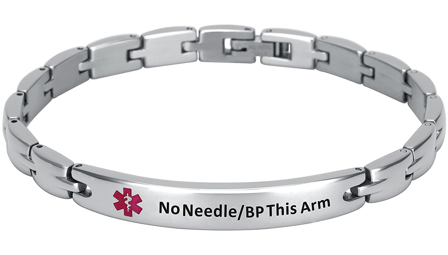 Elegant Surgical Grade Steel Medical Alert ID Bracelet For Men and Women Women s, No Needle BP This Arm