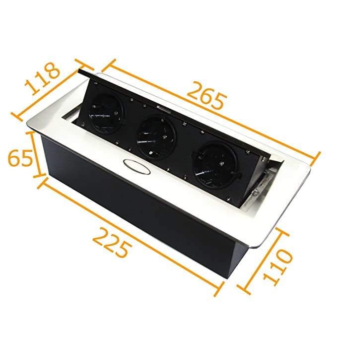 Regleta enchufe para cocina y oficina con Soft Apertura - Ideal para encimera, como enchufe de mesa o suelo enchufe - Aluminio Inyectado con tres enchufe ...
