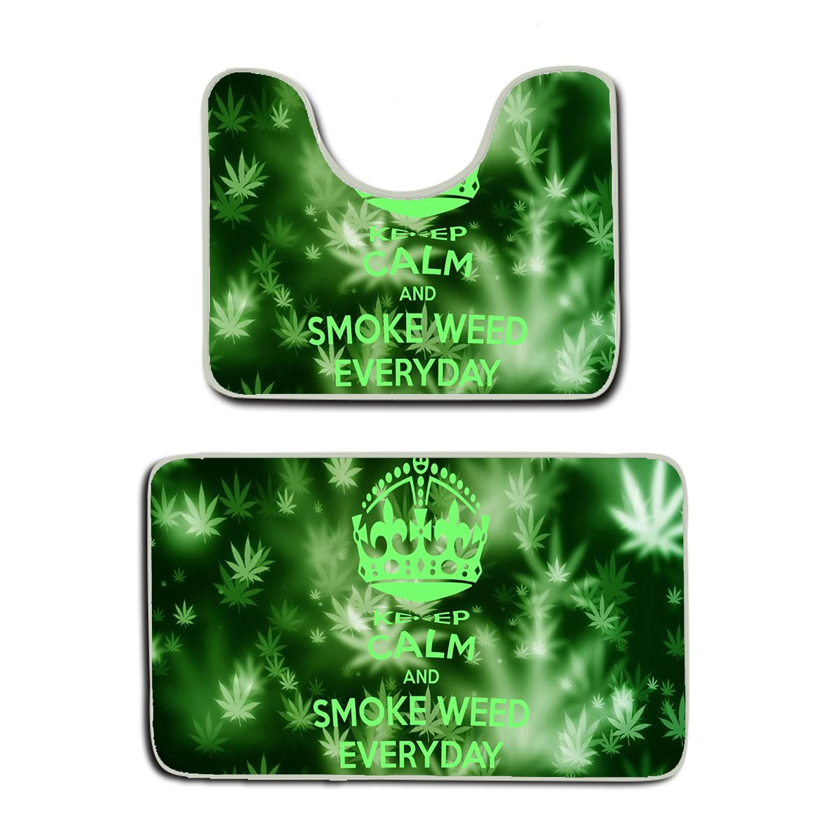 AMERICAN TANG Memory Foam 2 piece bathroom rug set - Keep Calm and Smoke Weed Everyday - Skidproof bath Mat And Toilet Seat Contour Cover rug by AMERICAN TANG