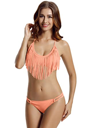 bd7ba651722 zeraca Women's Plus Size Halter Fringe Bikini Bathing Suits X-Large Peach  Echo