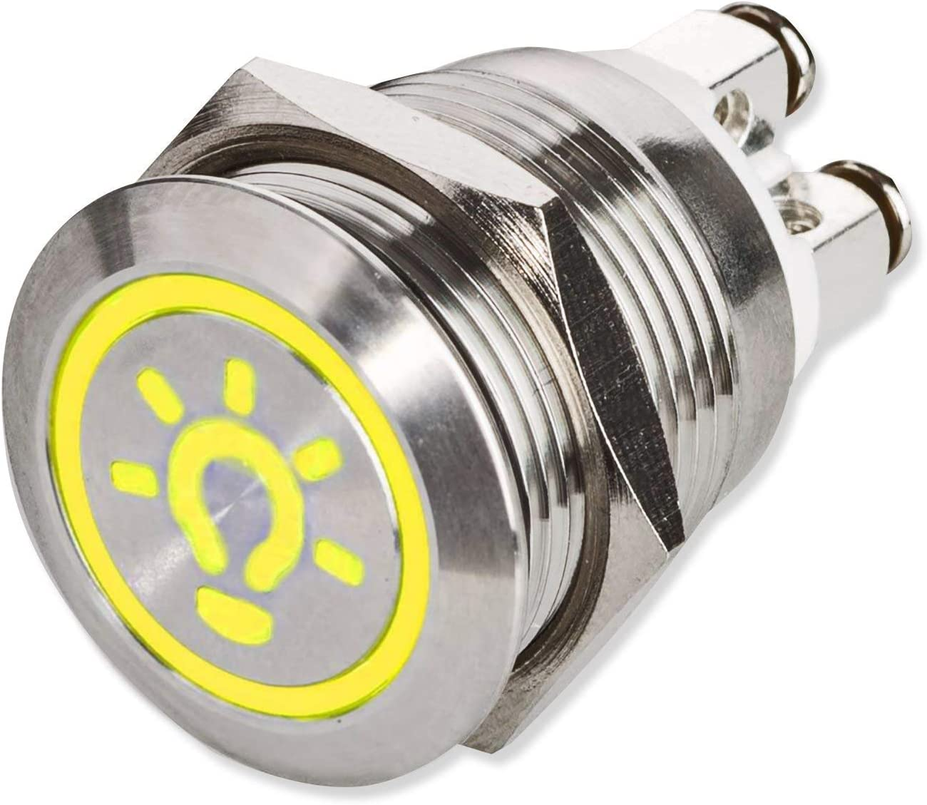 METZLER IP67 DEL Bouton Poussoir Bell symbole acier inoxydable 19 mm Vis De Contact Rouge