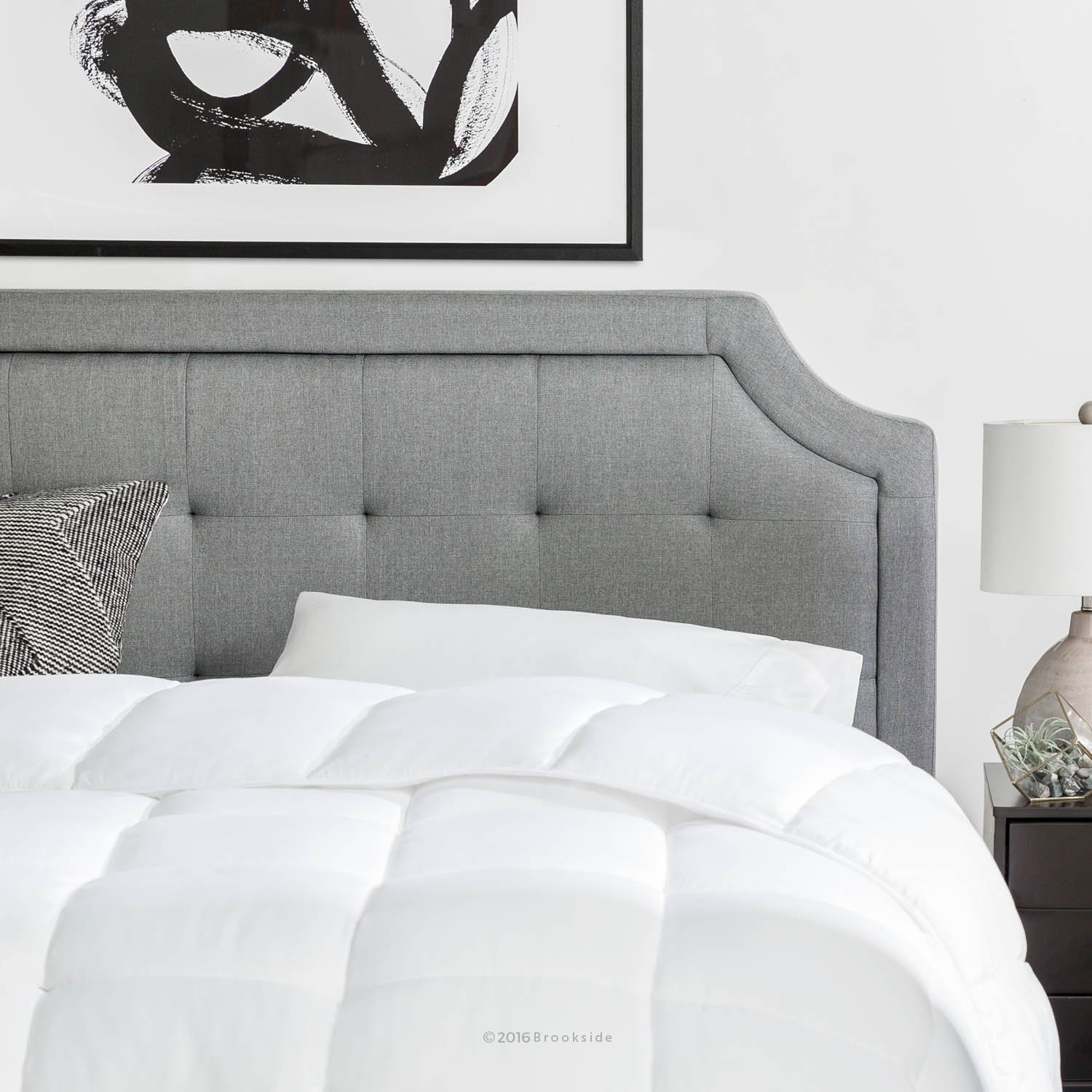 Brookside Upholstered Scoop-Edge Headboard with Square Tufting - King/California King - Stone