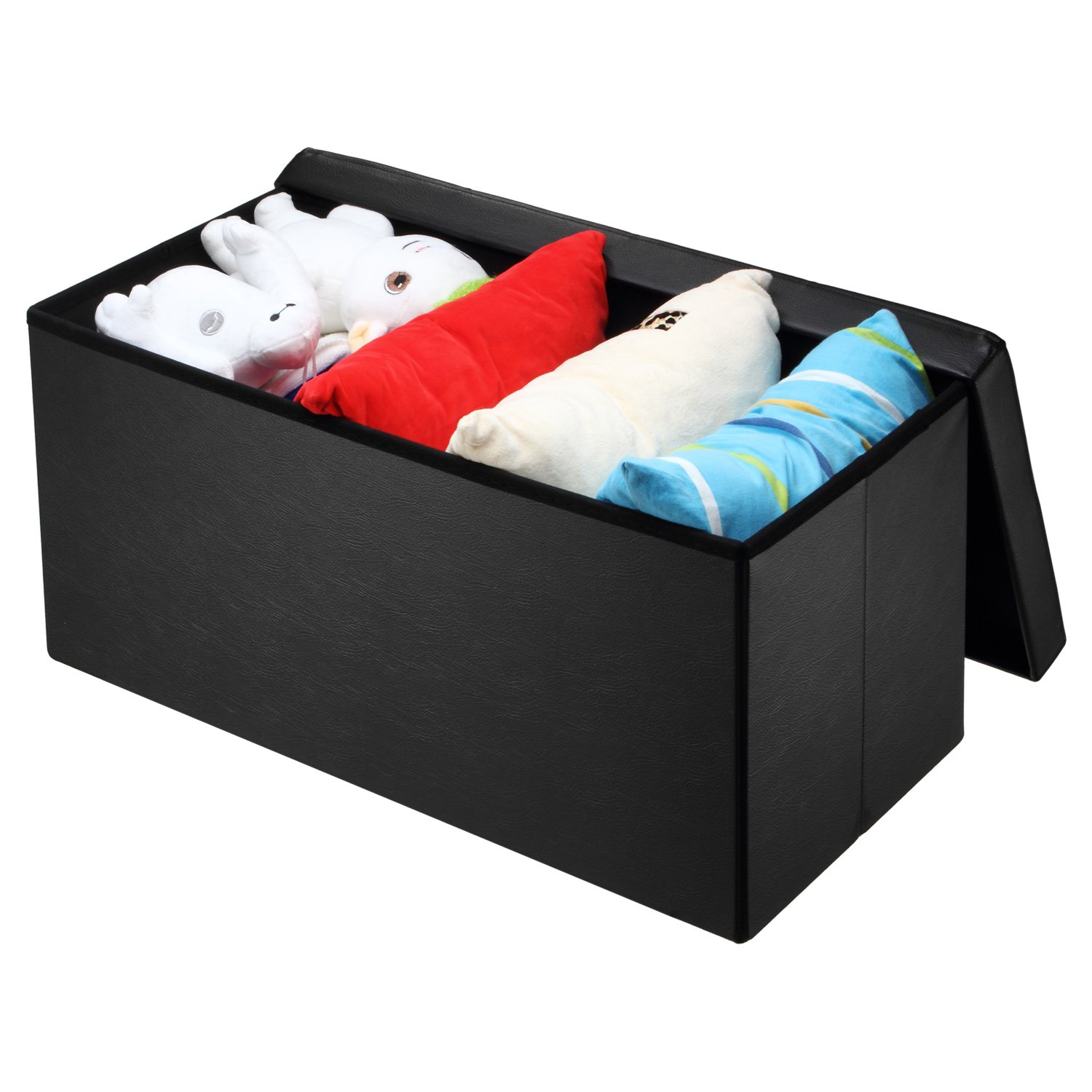 Ollieroo Faux Leather Folding Storage Ottoman Bench Foot Rest Stool Seat Black 30''X15''X15'' by Ollieroo (Image #3)