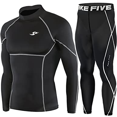 47b970dded New Black Compression Under Base Layer Wear Top & Pants SET Skin Tights Mens  (S