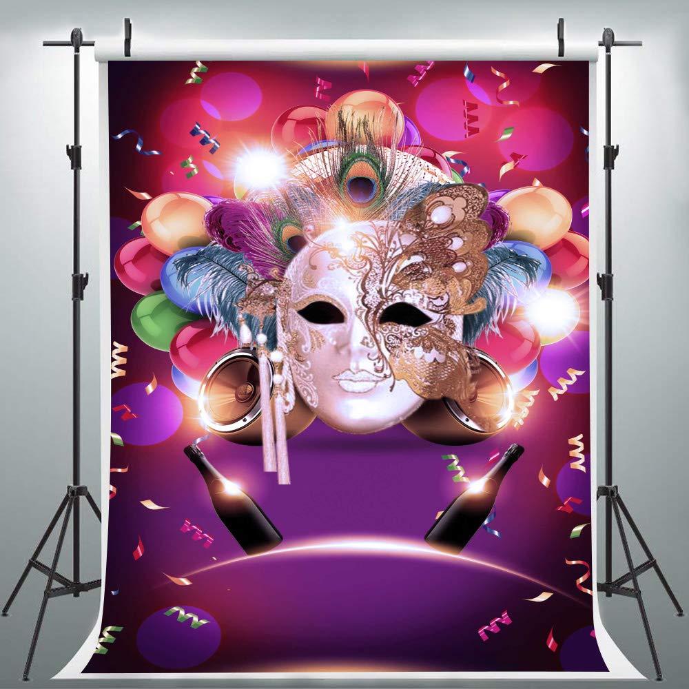 YHLU025 カラフルなマスク 背景幕 仮面舞踏会用 6x9フィート リボンフェザー グリッターの背景 プロム ダンス バナー   B07NKZBQWP