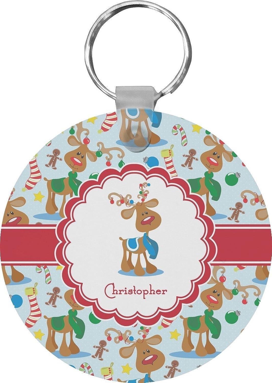 Reindeer Round Keychain (Personalized)