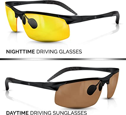 Unbreakable Metal Frame with Car Clip Holder Knight Visor BLUPOND HD Night Vision Driving Glasses Clear View Semi-Polarized Anti Glare Yellow Lens