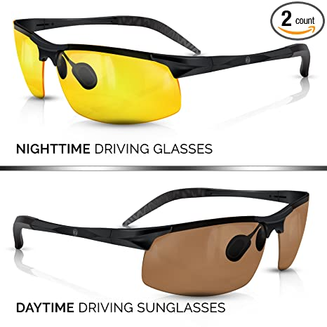 7bcccd1bdc BLUPOND KNIGHT VISOR Set of 2 - Driving Glasses Anti-Glare HD Vision -  Yellow