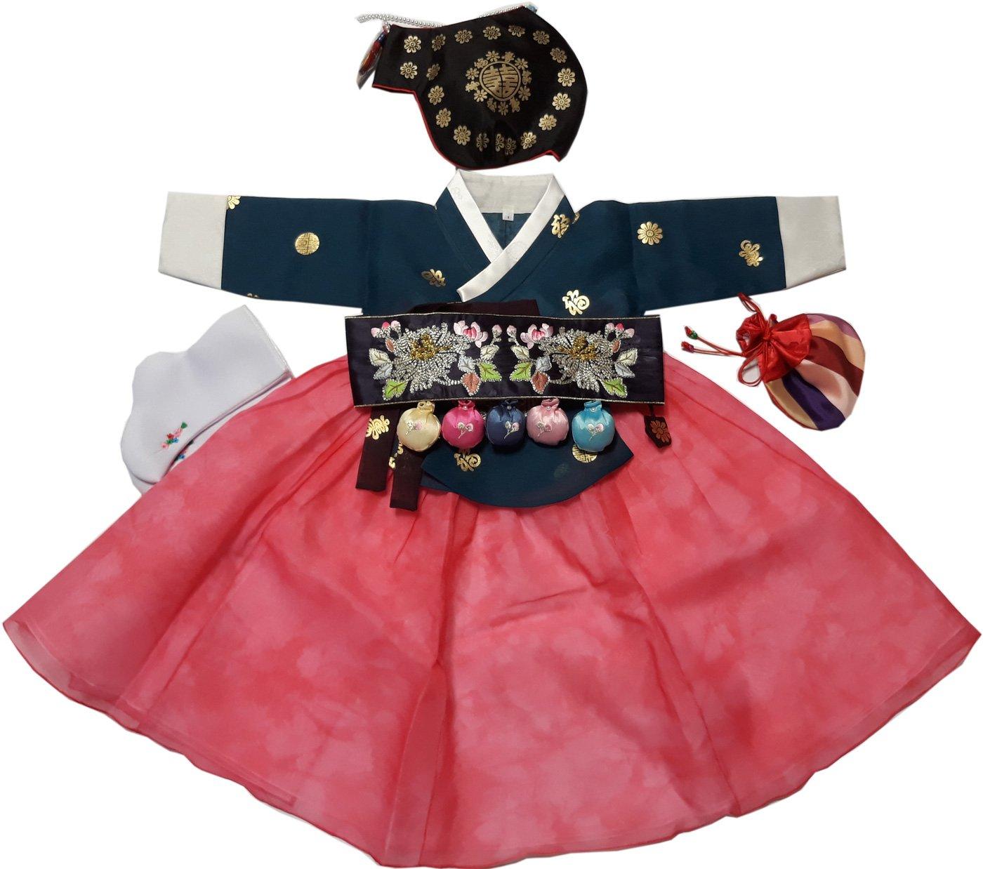 Hanboks Korean Traditional Costumes Girls Babies Dress 1st Birthday DOLBOK hg1003/f