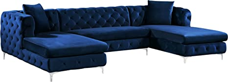 Meridian Furniture 664Navy-Sectional Gail Collection Modern | Contemporary Velvet 3 Piece Sectional, 127