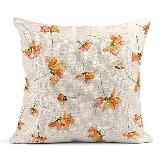 Kinhevao Cojín Floral Naranja Flores Vintage Acuarela ...