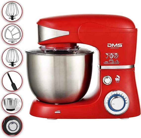DMS KM-1500 - Robot de cocina (5 litros, amasadora, cuenco de acero inoxidable, protección contra salpicaduras, amasadora de 6 niveles, 1500 W) rojo: Amazon.es: Hogar