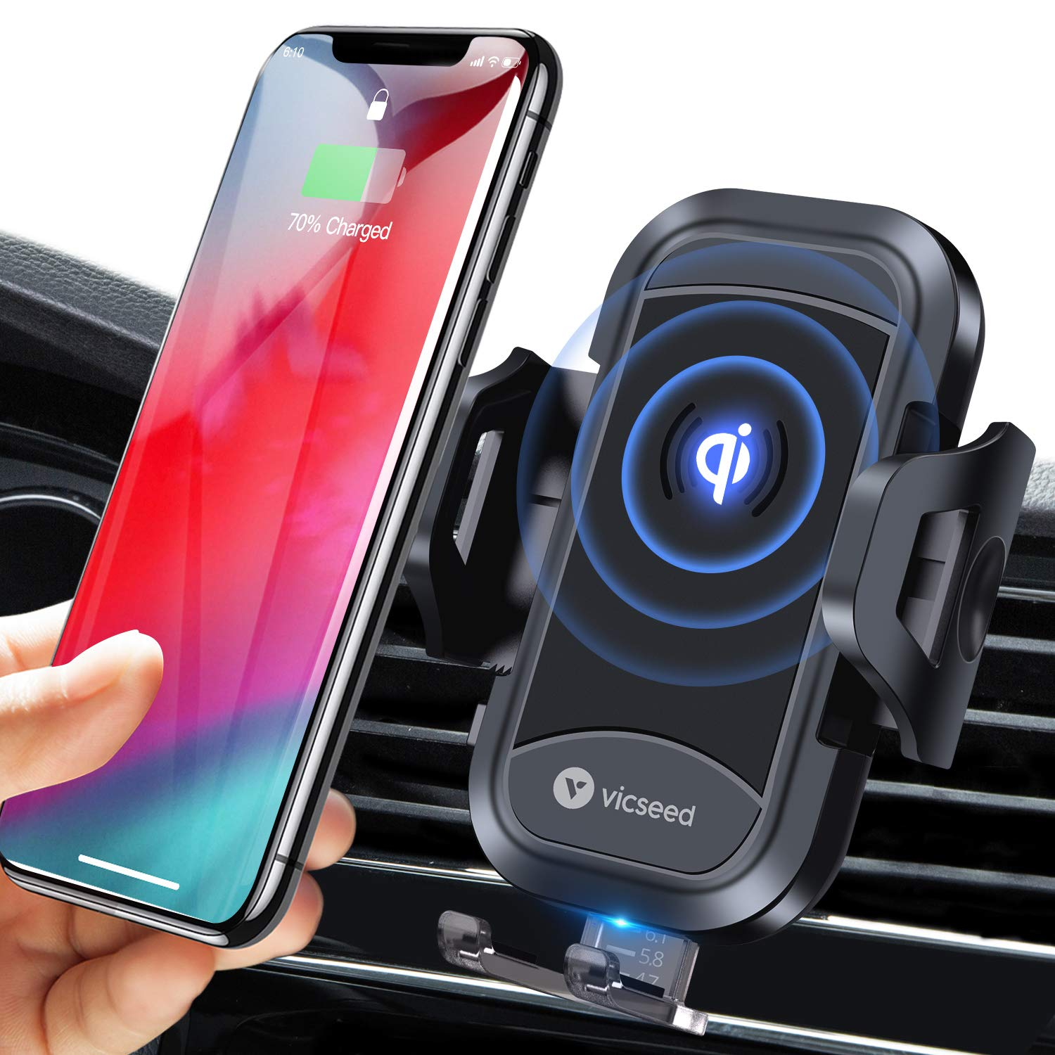 VICSEED Wireless Car Charger Mount Fast Charging Qi Wireless Car Charger 7.5W 10W Qi Car Charger Air Vent Phone Holder for Car Mount Fit for iPhone 11 Pro Max XS Max X 8 Plus XR Samsung Note10 S10 S9 by VICSEED