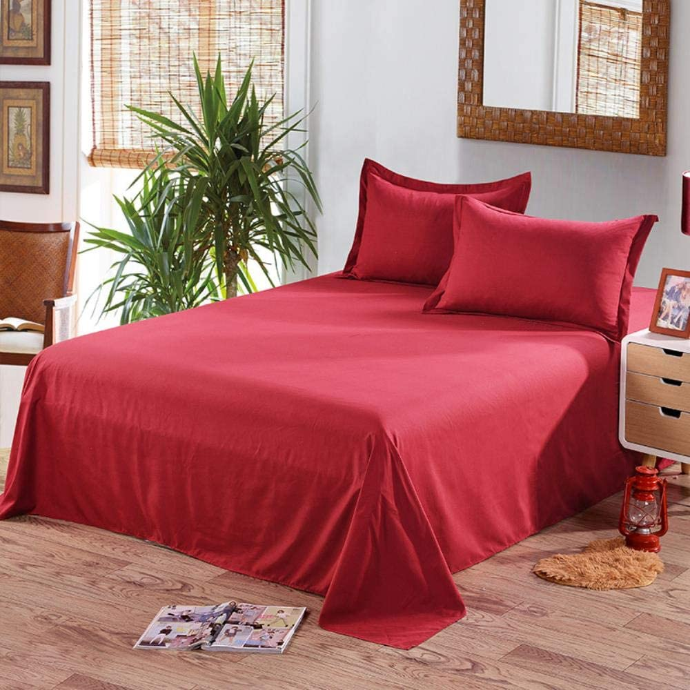 Only 2 Pillowcase Bordeaux Couleur Pure pour lit King Size SHIYANTQ Drap de lit sans taie doreiller